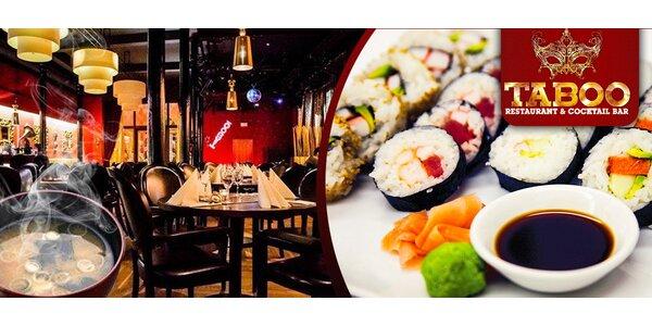 30 sushi rolek a nigiri a 2 exotické polévky