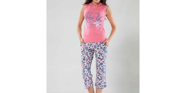 Dámské pyžamo Fagon - růžový top a vzorované kalhoty
