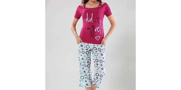 Dámské pyžamo Fagon - fuchsiový top a vzorované kalhoty