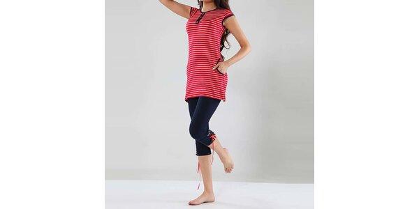 Dámské pyžamo Fagon - pruhovaný delší top a tmavě modré kalhoty