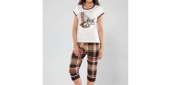 Dámské pyžamo Fagon - top s potiskem a vzorované kalhoty