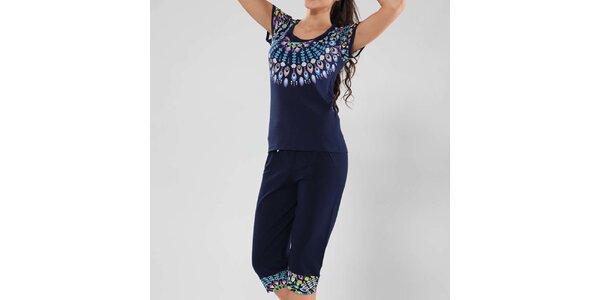 Dámské tmavě modré pyžamo s barevným vzorem Fagon