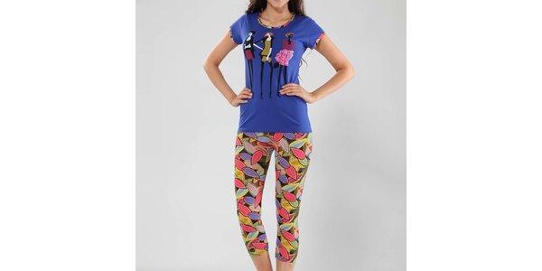 Dámské pyžamo Fagon - modré tričko a vzorované kalhoty