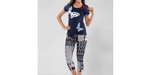 Dámské pyžamo Fagon - tričko s motýlky a kalhoty s nápisy