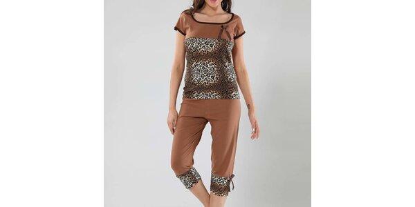 Dámské hnědé pyžamo s leopardím vzorem Fagon