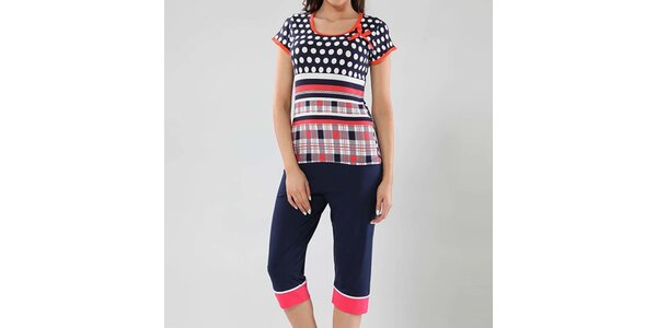 Dámské pyžamo s puntíky a kostičkami Fagon