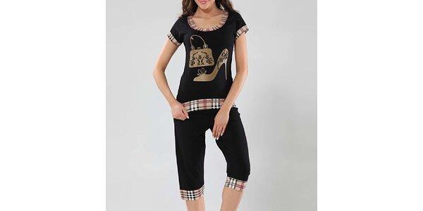 Dámské černé pyžamo s kostkovanými lemy Fagon