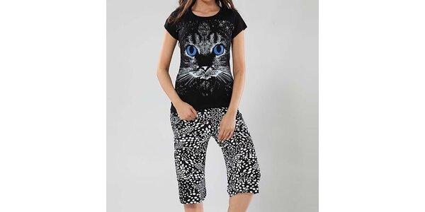 Dámské pyžamo Fagon - tričko s kočičkou a vzorované kalhoty
