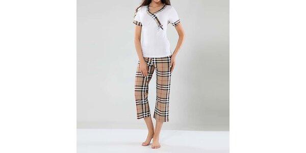 Dámské pyžamo Fagon - bílé tričko a kostkované kalhoty