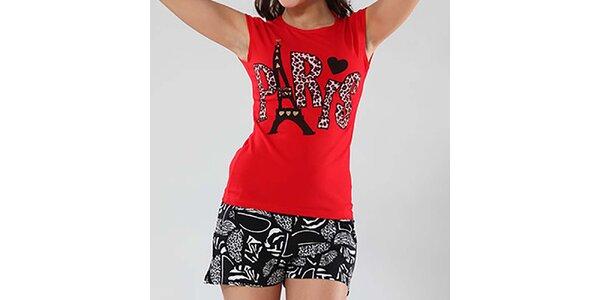 Dámské černo-červené pyžamo s potiskem Fagon