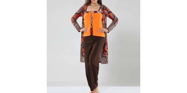 Dámské oranžovo-hnědé pyžamo se županem Fagon