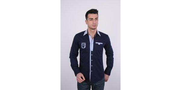 Pánská tmavě modrá košile Giorgio di Mare s výšivkou