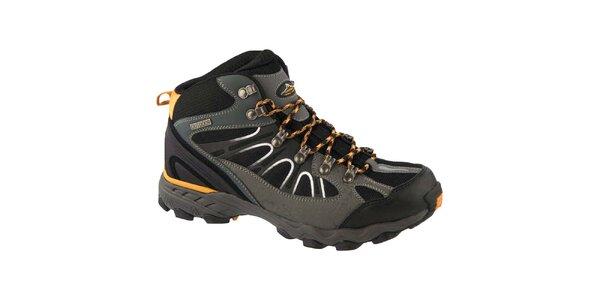 Pánské šedo-černé trekové boty Crosby