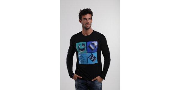Pánské černé tričko Giorgio di Mare s modrým potiskem