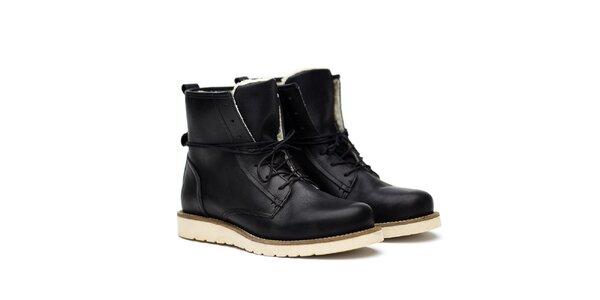 Pánské černé kožené boty na šněrování Shoe the Bear