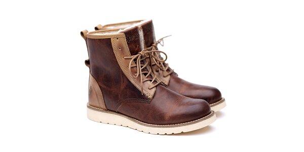 Pánské hnědo-béžové kožené boty Shoe the Bear