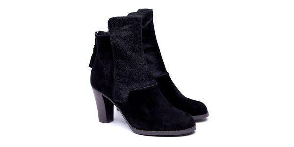 Dámské černé kotníkové botky na podpatku Shoe the Bear