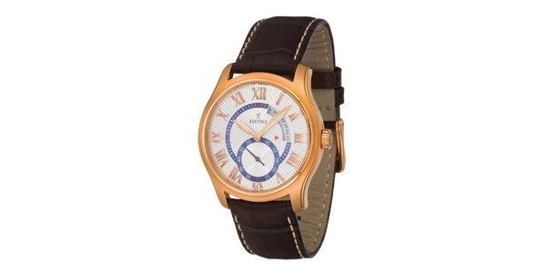 Pánské zlaté ocelové hodinky Festina s hnědým koženým řemínkem
