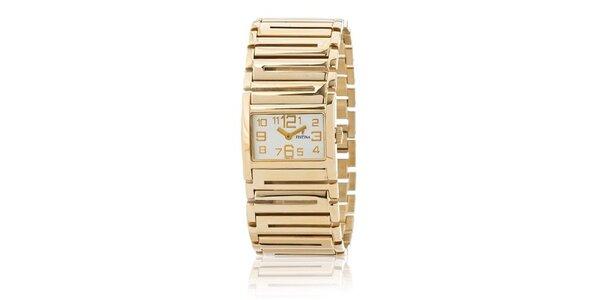 Dámské zlaté náramkové hodinky Festina se zlatými indexy