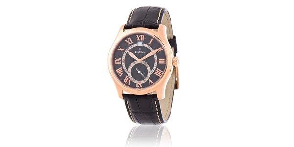 Pánské zlato-černé ocelové hodinky Festina s černým koženým řemínkem