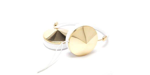 Sluchátka v bílé barvě se zlatými prvky Frends