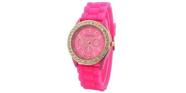Geneva with rhinestones flint Color/Pink, dámské hodinky