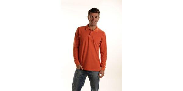 Pánské oranžové polo Gianfranco Ferré s dlouhým rukávem