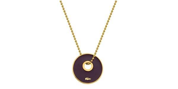 LACOSTE NÁHRDELNÍK, zlatavý, fialový přívěšek - 50 cm