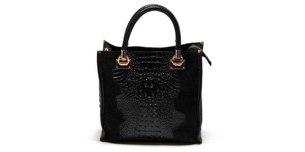 Dámská černá kabelka s krokodýlím vzorem Carla Ferreri