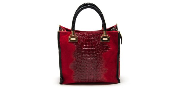 Dámská červená kabelka s krokodýlím vzorem Carla Ferreri