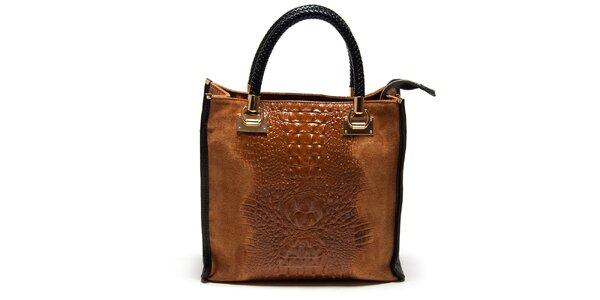 Dámská koňaková kabelka s krokodýlím vzorem Carla Ferreri