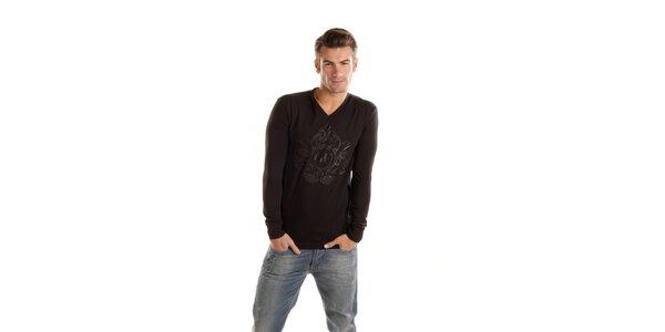 Pánské černé tričko Gianfranco Ferré s dlouhým rukávem a potiskem