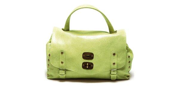 Dámská zelená kabelka s přezkami a cvočky Carla Ferreri