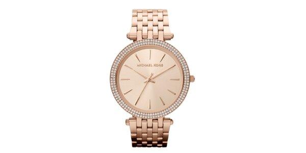 Dámské růžově zlaté hodinky s krystalky Michael Kors