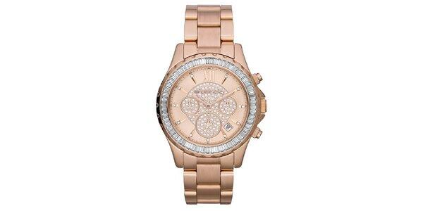 Dámské růžově zlaté hodinky se zirkony Michale Kors