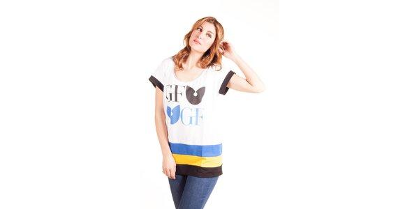 Dámské bílé oversized tričko Gianfranco Ferré s barevnými pruhy