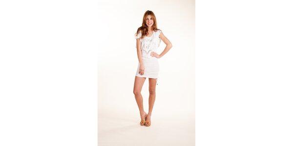 Dámské bílé šaty Gianfranco Ferré se stříbrným potiskem