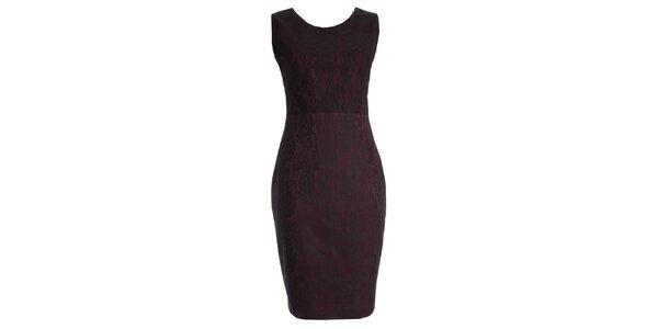 Dámské vínové šaty s motivem krajky JDC London