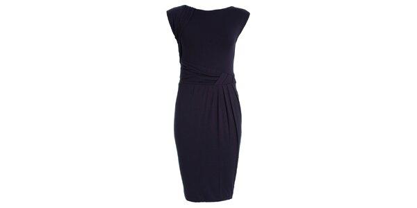 Dámské tmavě modré šaty s nabíraným pasem JDC London