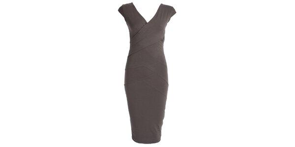 Dámské šedé šaty se zavinovacím efektem JDC London