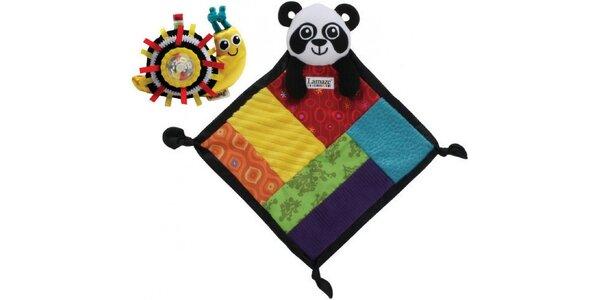 Balíček chrastítko šnek + mazlící dečka panda