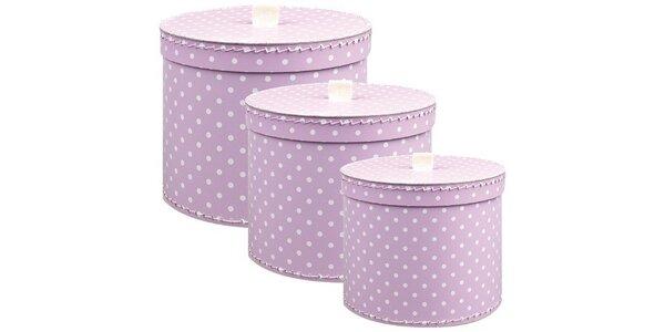 Sada 3ks kulatých krabic s taháčkem-fialové