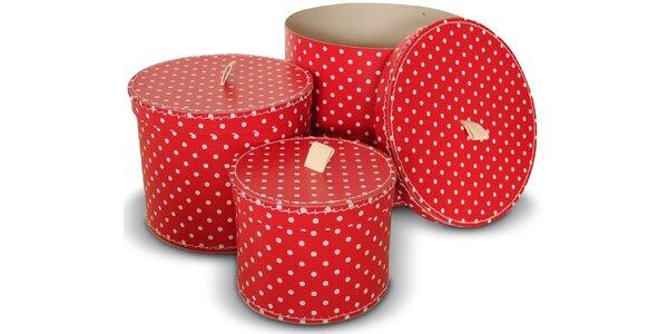 Sada 3ks kulatých krabic s taháčkem-červené