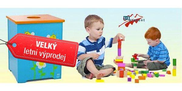 Dřevěná úložná krabice na hračky