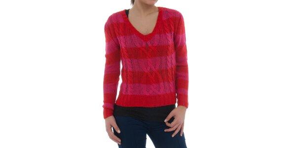 Dámský červeno-růžový pruhovaný svetr Ecko Red s copánkovým vzorem
