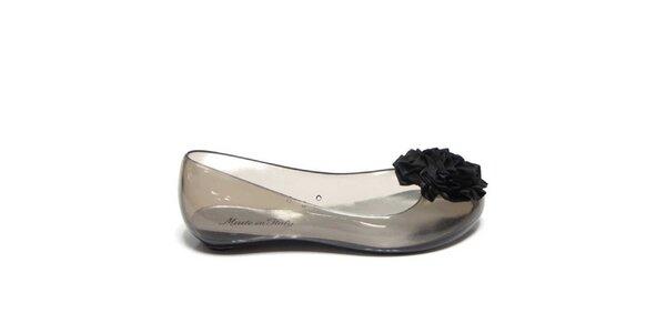 Dámské kouřové transparentní baleríny s černou květinou Favolla
