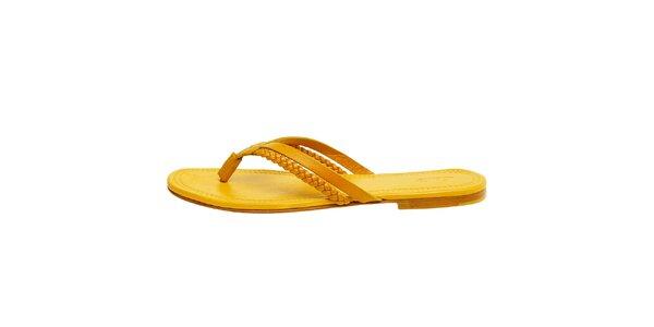 Dámské kanárkově žluté kožené žabky Levi's