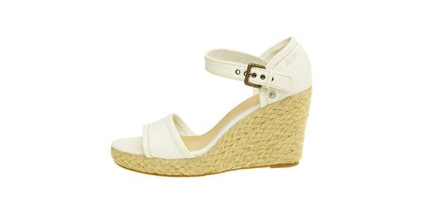 Dámské bílé sandály Levi's na jutovém klínu