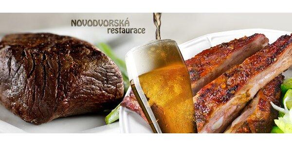 Žebra a pivo nebo kančí steak pro dvě osoby