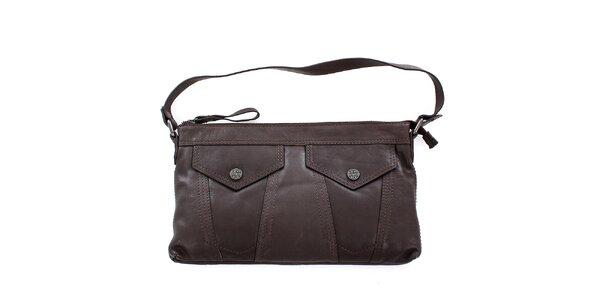 Dámská hnědá kožená kabelka Levi's s kapsami